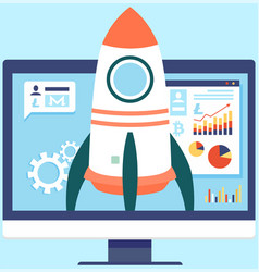 launching business project startup with spaceship vector image