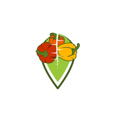 leaf and a pile of tomato logo inspiration vector image