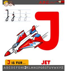Letter j worksheet with cartoon jet vector