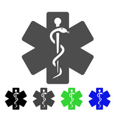 Life star medical emblem flat icon vector