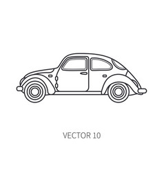 Line icon retro tourism auto classic 1950s vector