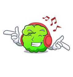 Listening music shrub mascot cartoon style vector