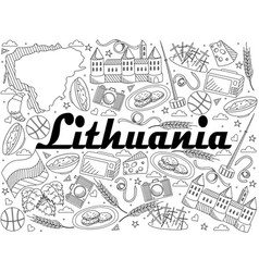 lithuania line art design vector image