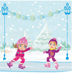 Little girls skating on ice rink vector