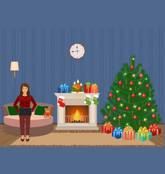 living room christmas decorated interior with vector image