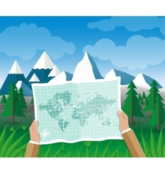 Man on a hiking trip holding map in his hands vector