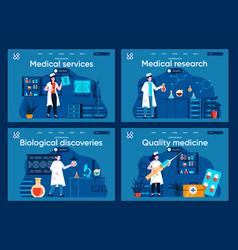 Medical services flat landing pages set vector