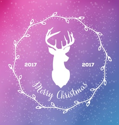 Merry Christmas with reindeer head in frame from vector image