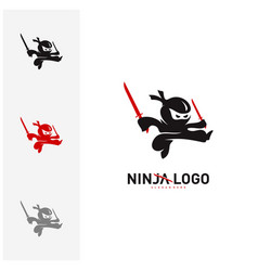 ninja warrior logo design template silhouette of vector image