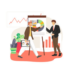 office scene with business man giving lecture or vector image