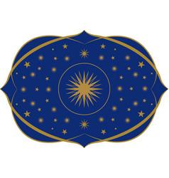 Ornamental frame medieval or modernist style blue vector