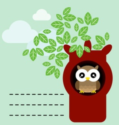 owl in tree trunk vector image vector image