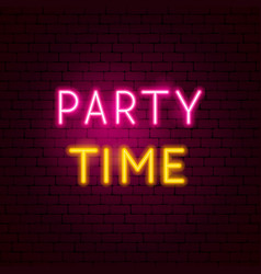 party time neon sign vector image