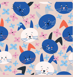 Pink with blue and white bunnies and whimsical vector