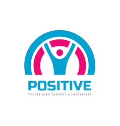positive - business logo template concept vector image