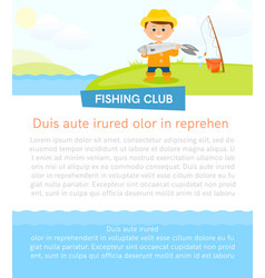 poster with fisherman and fish vector image
