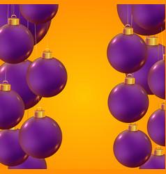 realistic christmas balls on trendy yellow vector image