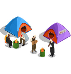 Refugee camp isometric composition vector