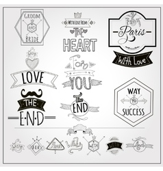 Retro doodle catchwords emblems whiteboard vector