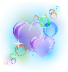 Romantic background with colorful bubble hearts vector
