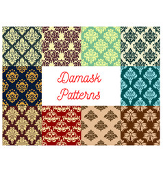 seamless pattern set of floral damask ornament vector image