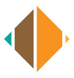 Segmented square icon logo shape square cut in vector