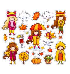 Set cute autumn girls vector