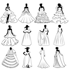 Set of brides silhouettes in wedding dress vector