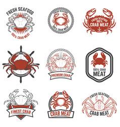 set of crab meat labels fresh seafood design vector image