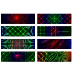 Set of horizontal elegant iridescent banners vector image