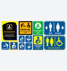 Set of restroom nursing room lactation room plac vector