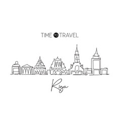 single continuous line drawing riga city vector image