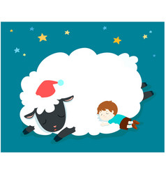 sleeping boy with fluffy sheep vector image
