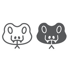 Snake line and glyph icon animal and zoo vector