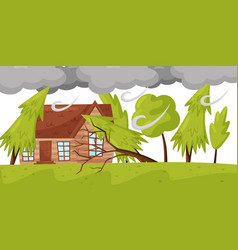 strong wind breaks trees living house and huge vector image