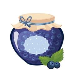 Sweet blueberry blue jam glass jar filled vector