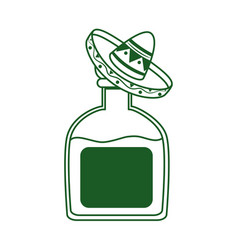 Tequila bottle with hat cinco de mayo mexican vector
