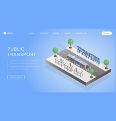 Trolleybus station landing page template vector