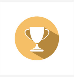Trophy icon with shadow on yellow circle vector
