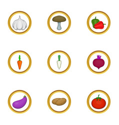 Vegetarian food icons set cartoon style vector