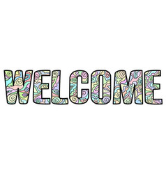 welcome poster with multicolored pattern on le vector image