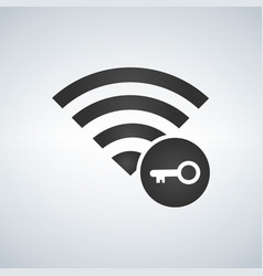 wifi connection signal icon with key icon in the vector image