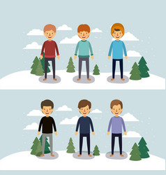winter people with two scenes of men with sweaters vector image