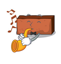 with trumpet brick mascot cartoon style vector image