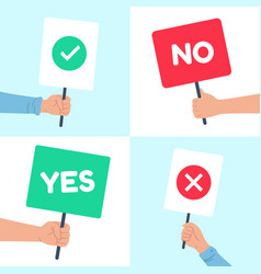 yes no posters holding protest banner in hand vector image