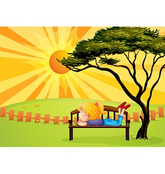 A girl at the park vector image vector image