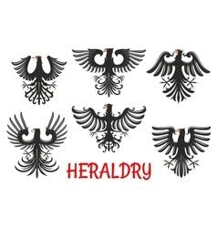 Heraldic black eagles with raised wings vector image