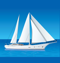 sailing luxury yacht in the sea vector image vector image