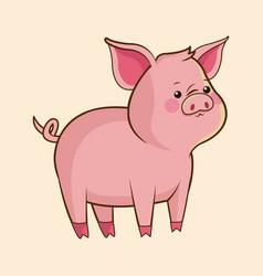 cute pig wildlife image vector image vector image