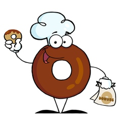 Donut Cartoon Character Holding A Donut vector image